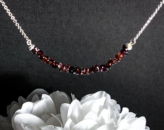 Raw Garnet Necklace Birthstone Necklace Silver Jewelry Stone Necklace Garnet Necklaces Passion Energy Best Friend Gift Gifts for Women
