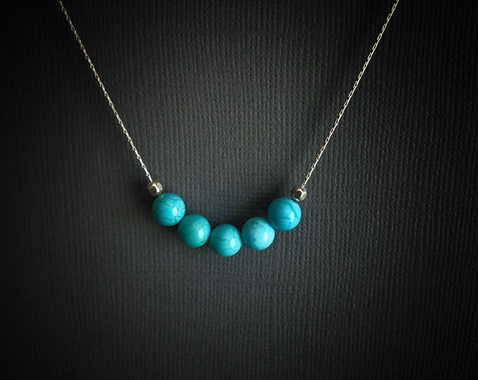 Turquoise Healing Crystal Calming Thin Silver Chain Necklace