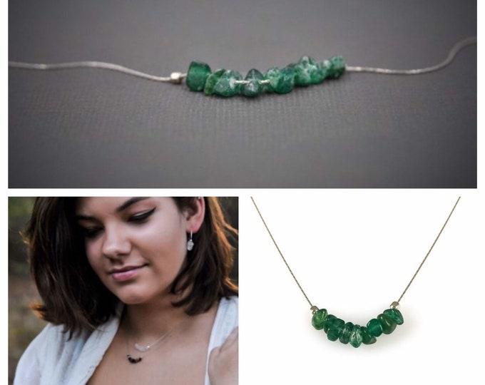 Raw Green Aventurine Necklace, Abundance Crystal, Courage Necklace, Stress Relief