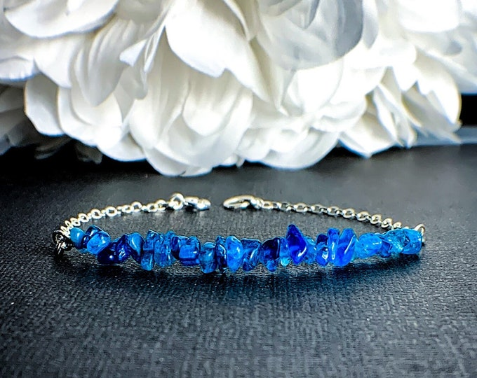 Raw Neon Blue Apatite Crystals Bracelet, weight loss motivation energy bracelet