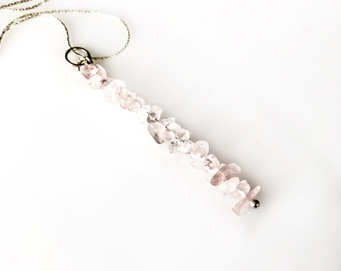 Rose Quartz Pendant Beaded Bar Necklace, Calming Necklace, anxiety jewelry