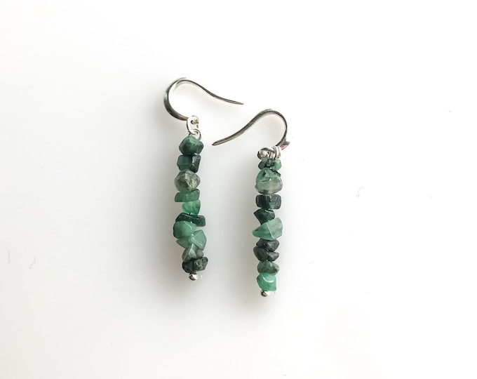 Raw Emerald Earrings, Calming stones, Prosperity Stones, heart chakra mindfulness gift