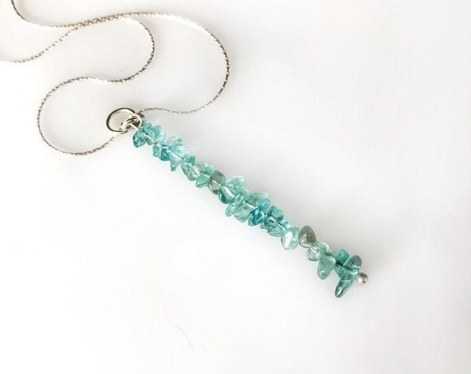 Apatite Pendant, Blue Apatite Pendant Gem Bar Necklace, Apatite Necklace, Positive Energy