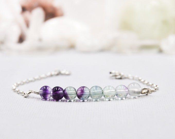 Rainbow Fluorite Beaded Bracelet Pisces Birthstone Anxiety Bracelet Empath Protection Bracelet Third Eye Anxiety Jewelry Healing Crystals