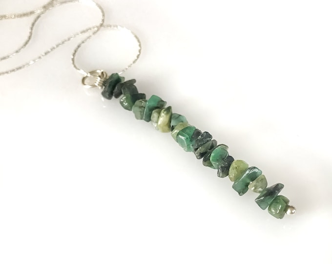 Raw Emerald Gem Bar Necklace, May Birthstone, Raw Emeralds, Emerald Pendant