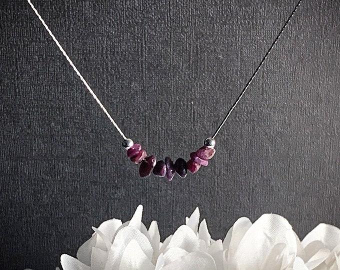 Raw Ruby Necklace Wealth Talisman, Abundance Jewelry, Prosperity Stones, Gemstone Choker