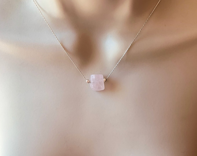 Rose Quartz Barrel Simple Necklace, Dainty Silver Choker, Calming Stones, Mindfulness Gift