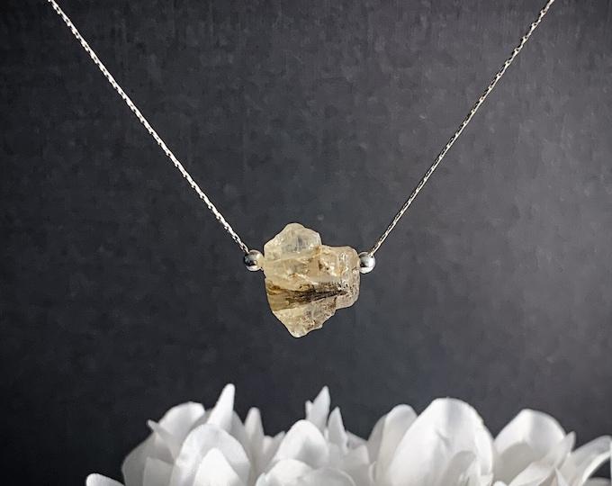Yellow Topaz Raw Stone Pendant Necklace, Raw Topaz Crystal November Birthstone Simple Necklace