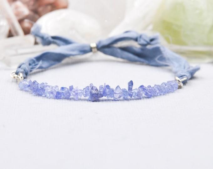 Tanzanite Bracelet, Silk Wrap Bracelet, December Birthstone, Meditation Bracelet