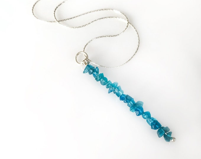 Blue Apatite Pendant Beaded Bar Necklace, Anxiety Jewelry, apatite necklace