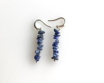 Sodalite earrings Anxiety Jewelry, raw crystal earrings, sodalite jewelry calming stones