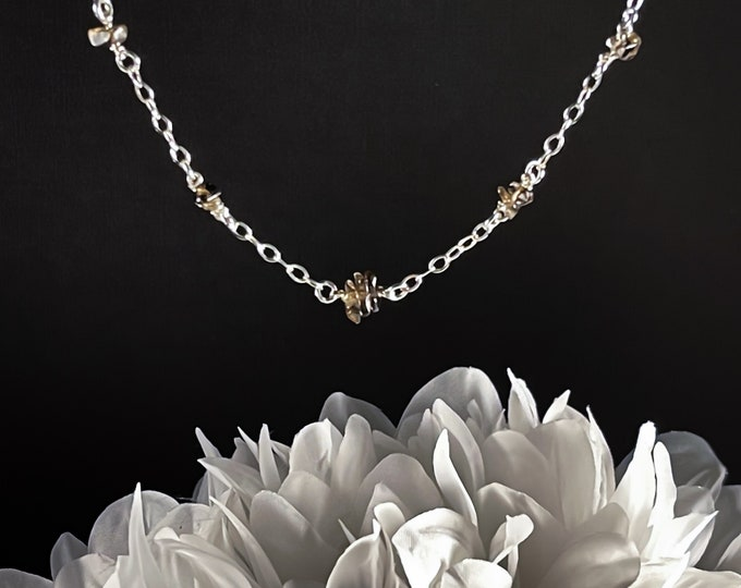 Real Smoky Quartz Satellite Necklace, Protective Gemstone Stones for Anxiety Jewelry, Raw Smokey Quartz necklace EMF Protection