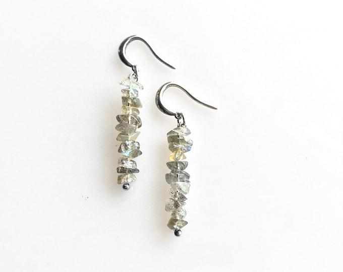 Iridescent Stone Labradorite Earrings, Raw Crystal Earrings, Grounding Jewelry, Anxiety Jewelry