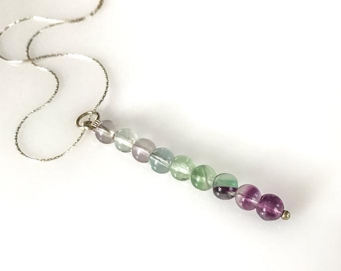 Rainbow Fluorite Beaded Bar Necklace Purple Fluorite Pendant Anxiety Jewelry