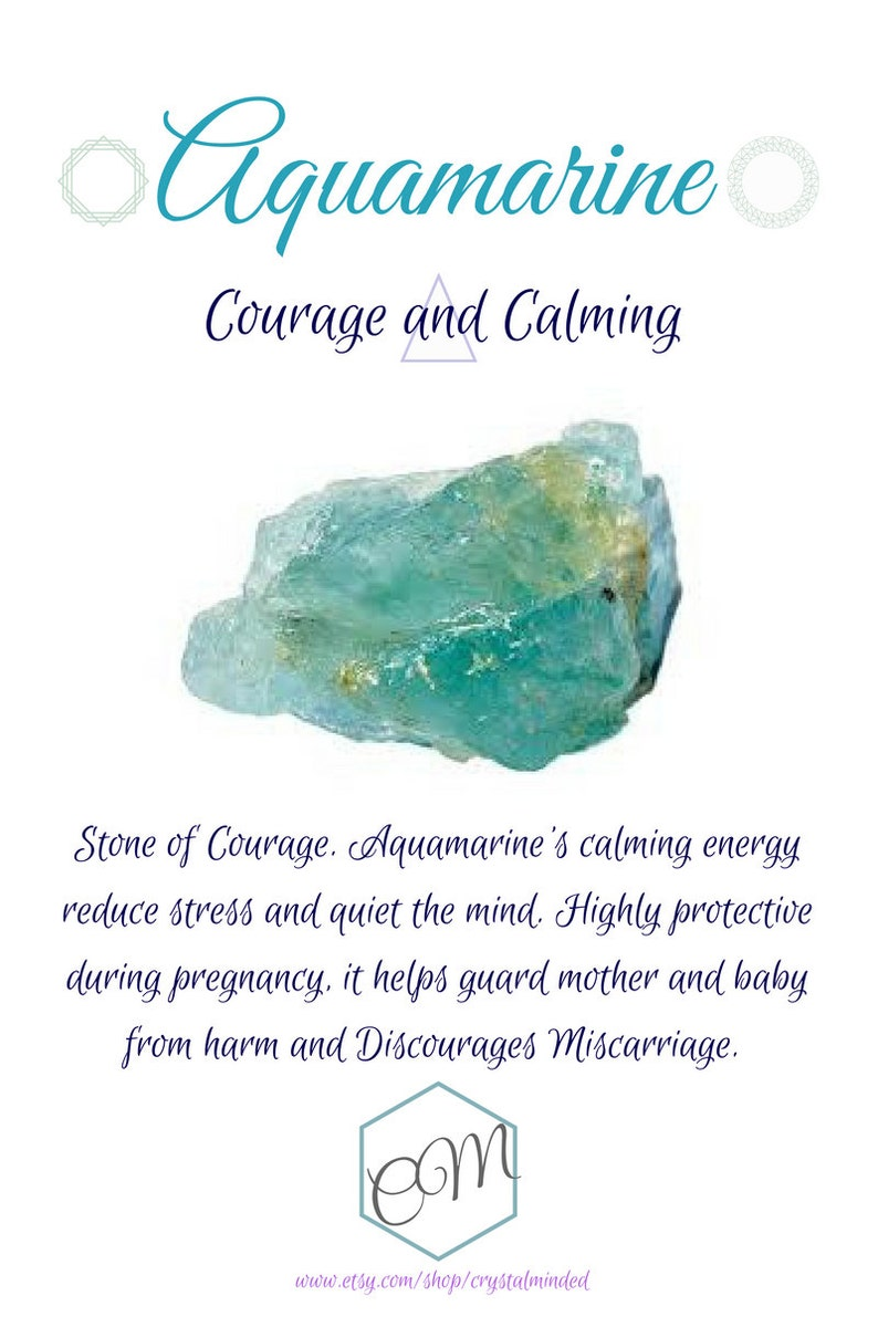 Healing Crystals Courage Bracelet Pregnancy Protection Raw Aquamarine Calming Protection Crystal Bracelet
