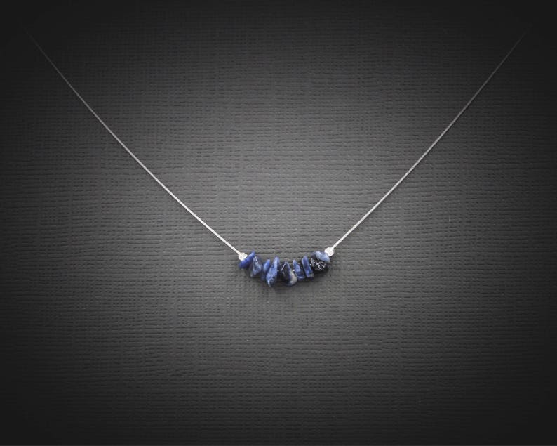 Sodalite Necklace Anxiety Relief Anxiety Necklace Crystal Necklace Blue Necklace Throat Chakra Choker Necklace Healing Crystals