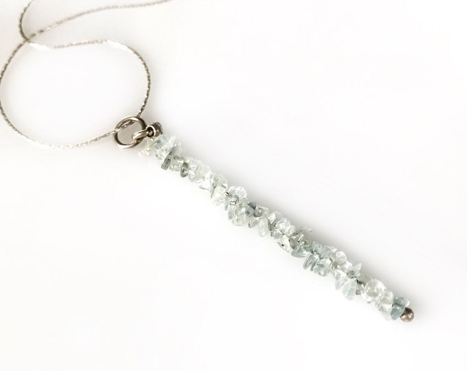 Aquamarine Pendant Protection Necklace Bead Bar Necklace Anxiety Necklace