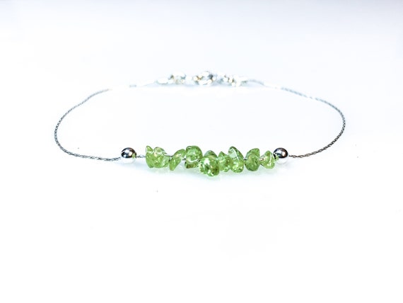 Peridot Bracelet Good Luck Bracelet Prosperity Jewelry August Birthstone Summer Jewelry Positive Energy Empath Protection Leo Birthstone