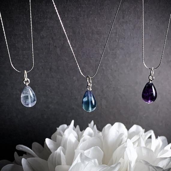 sterling silver necklace rainbow fluorite necklace fluorite jewelry gemstone necklace Fluorite necklace minimalist necklace