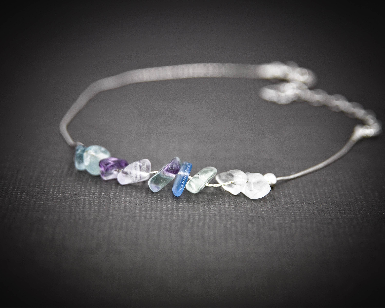 Rainbow Fluorite anxiety Bracelet, empath protection, dainty anklet