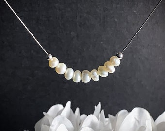 Beautiful White Pearl necklace sterling silver, June Birthstone jewelry, Pearl beaded necklace, Pearls for mother Gift, Pearl Choker jewelry