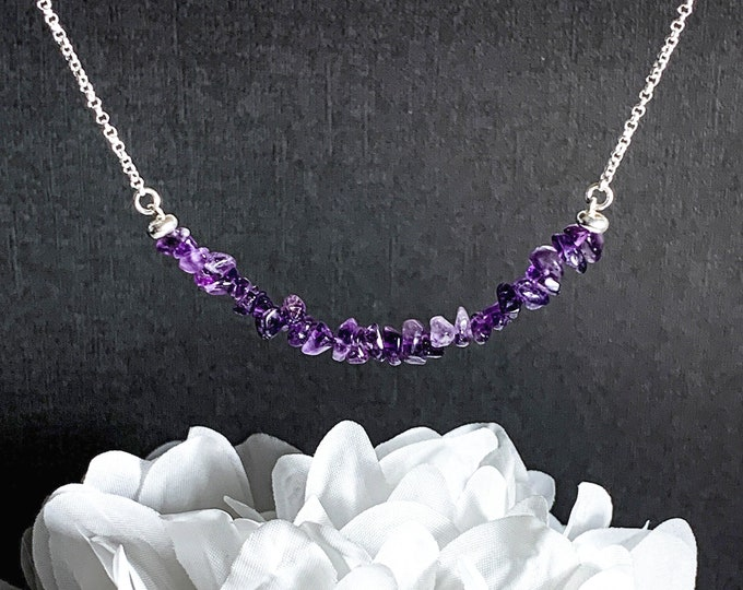 Amethyst Choker Necklace, Purple Birthstone Necklace, Natural Amethyst, Girlfriend Gift, Beaded Necklace, Jewelry Gemstone Necklace