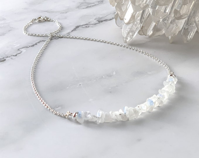 Raw Moonstone Necklace, June Birthstone necklace, Woman Fertility jewelry gift, crystal gemstone, Genuine, Real, Natural and always Unique