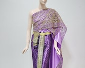 Purple and Gold Traditional Thai Dress, Lace Sequin Wrap Sarong Skirt Upto 32 in. Waist, 42 in. hip, Skirt Length 37 in. Excluding Jewelry