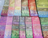 Sale 40 off, 12x116 inches Brocade faux silk Thai shawl, Sabai, Phabiang, Sash, shoulder cloth for Thai dress and can be use as bed runner