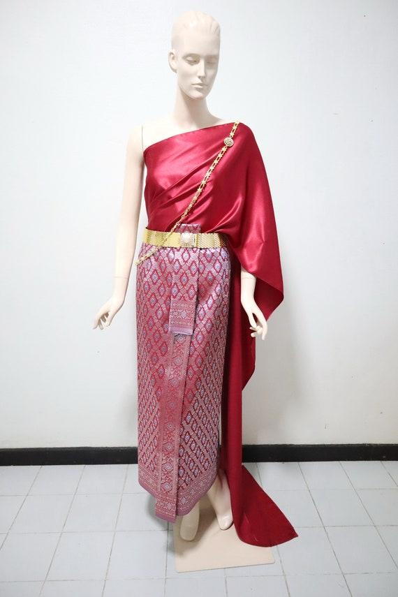 Unisex Traditional Thai  Lao  Khmer Trouser Pants Jongkraben with Elastic Waist Free Size Plain Color Faux Silk Thai Halem Pants
