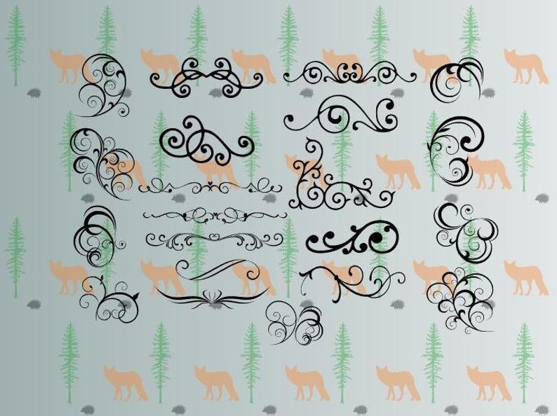 scrolls svg swirls swashes  floral svg files for cricut image 0