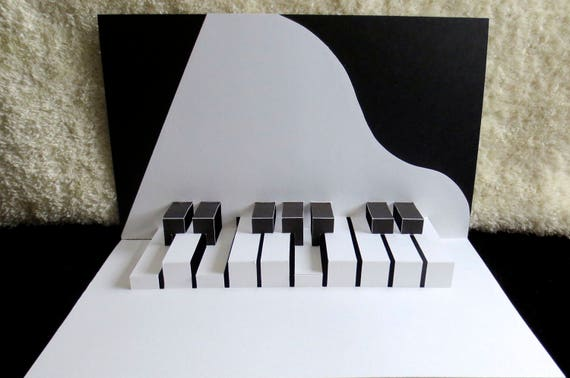 Pop Up Card Pop Up 3d Kirigami Origami Grand Piano Keyboard Etsy