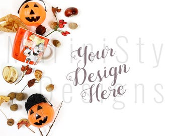 Download Free Halloween Styled Desktop Mockup, Styled Stock Photography, Stock image, Stock Photo, Halloween, Holidays, Pumpkin, Fall leaves, Autumn, 553 PSD Template