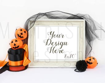 Download Free 8 x 10 Halloween Frame Mockup, Empty Frame, Horizontal Frame, Holiday Styled Stock Photography, Stock Photo, Stock image, Wooden Frame, 562 PSD Template