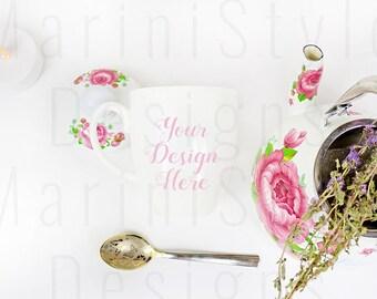 Download Free Shabby chic White Mug Mockup, Bistro Mug Mock up, Minimalist Styled Stock Photography, Romantic Stock photo, Stock image, Coffee cup, 689 PSD Template