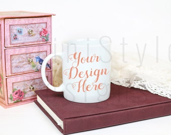 Download Free White Mug Mockup Styled Stock Photography, Stock photo, Stock image, White Coffee Mug, Blank Mug, Pink Vintage Style, Product Mockup, 301 PSD Template