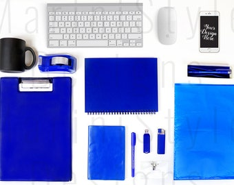 Download Free Office Desk Mockup, Blue Styled Desktop Styled Stock Photography, Office Stock image, Branding & Business Stock photo, Flatlay, iPhone, 665 PSD Template