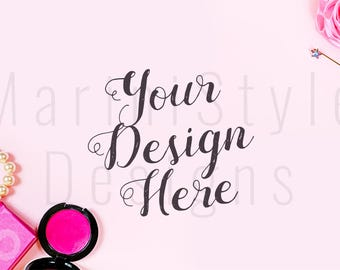 Download Free Pink Styled Desk, Pink Styled Stock Photography, Feminine Stock Photo, Styled Stock image, Jewelry, Makeup, Beauty, Mockup, Mock up, 416 PSD Template