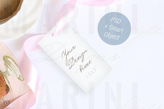 Thank You Card Mockup Wedding Gift Tag Mock Up Stock Photo