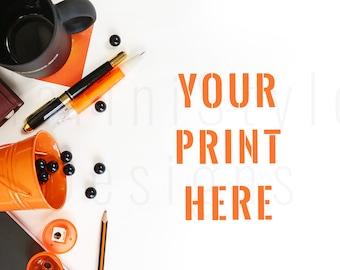 White Desk, Halloween Mockup, Orange & Black Styled Stock Photography, Stock Photo, Styled Desktop, Stock image, Stationery, Flat lay, 56
