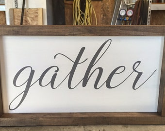 Gather Framed Wood Sign