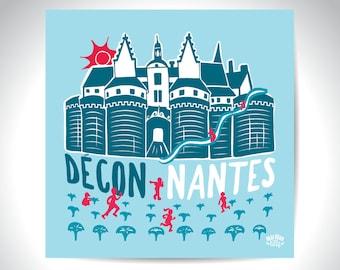 """Carte postale Nantes illustration """"déconnantes"""""""