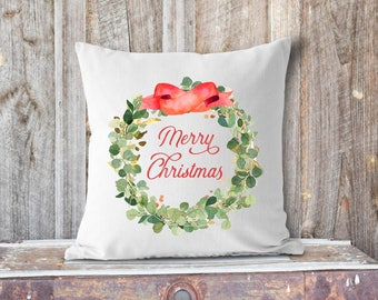 Watercolor Merry Christmas Eucalyptus Wreath with Red Bow