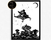 Aladdin and Jasmine flying, Love, For Children, Kids Room Decor, Fairy Tale, Magic Carpet, Poster, gift, Print, Wall Art (16)