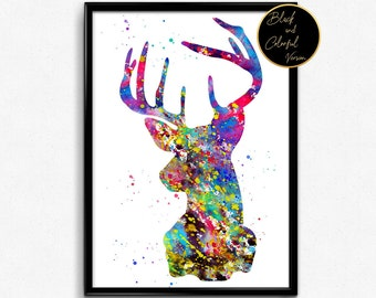 Stag Portrait, Animal Watercolor Print, Poster, Nature, Room Decor, gift, print, wall art (347)