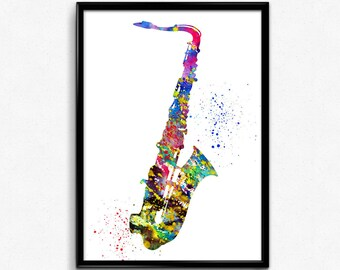 Saxophone, Musical Instrument, Colorful Watercolor,Instant Download, Poster, Room Decor, gift, printable wall art (155)