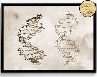 Two DNA, Science, Biology,watercolor print, poster, science art , print, wall decor(350)