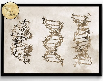 Three DNA, Science, Biology,watercolor print, poster, science art , print, wall decor(351)