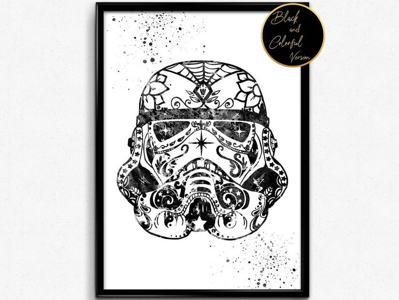 photograph about Stormtrooper Mask Printable named Star Wars influenced, Stormtrooper Helmet, Watercolor Print, Watercolor, Print, Wall Artwork, Poster, Place Decor, reward (425)