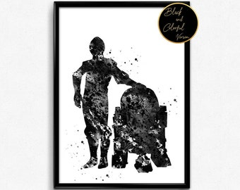 Star Wars inspired, C-3PO and R2-D2, Watercolor, Poster, Room Decor, gift, print, wall art (457)